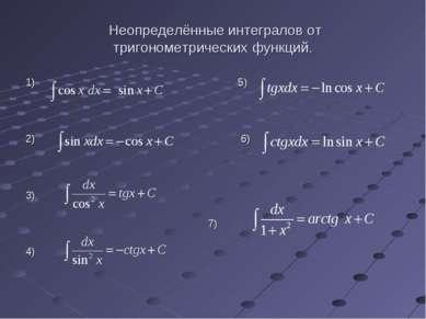 Неопределённые интегралов от тригонометрических функций. 1) 5) 2) 6) 3) 7) 4)