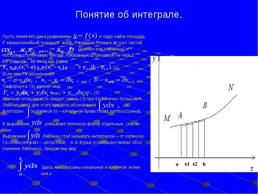 Понятие об интеграле. Пусть линия MN дана уравнением И надо найти площадь F «...