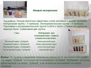 Второй эксперимент Вывод: По уровню содержания глюкозы на первом месте находи...
