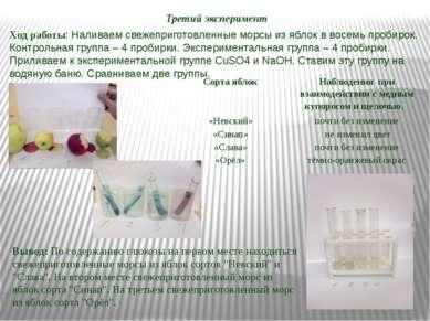 Третий эксперимент Вывод: По содержанию глюкозы на первом месте находиться св...