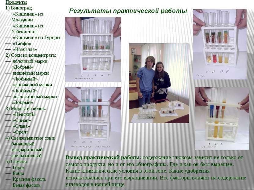 Результаты практической работы Продукты 1) Виноград: «Кишмиш» из Молдавии «Ки...