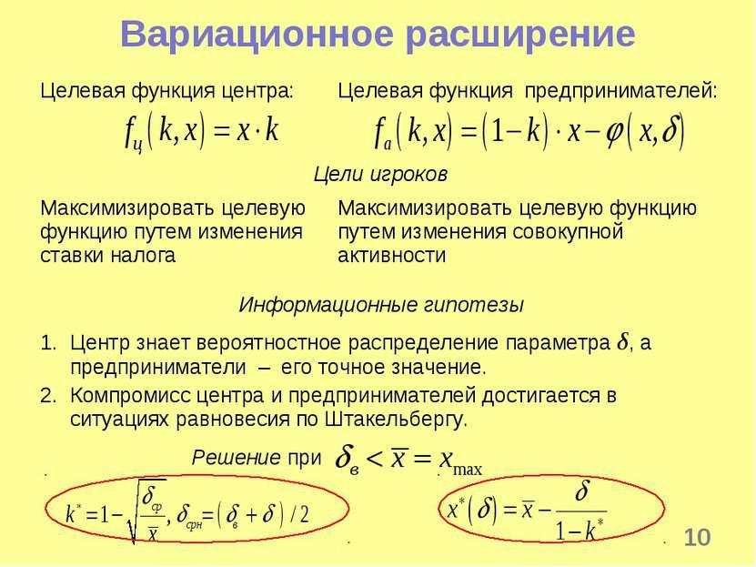 * Вариационное расширение Целевая функция центра: Целевая функция предпринима...