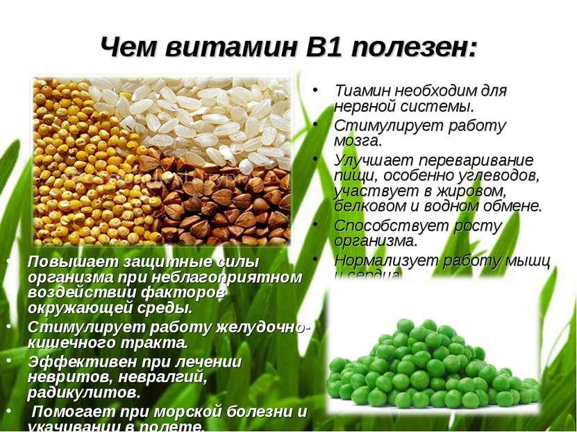 Чем витамин В1 полезен: Повышает защитные силы организма при неблагоприятном ...