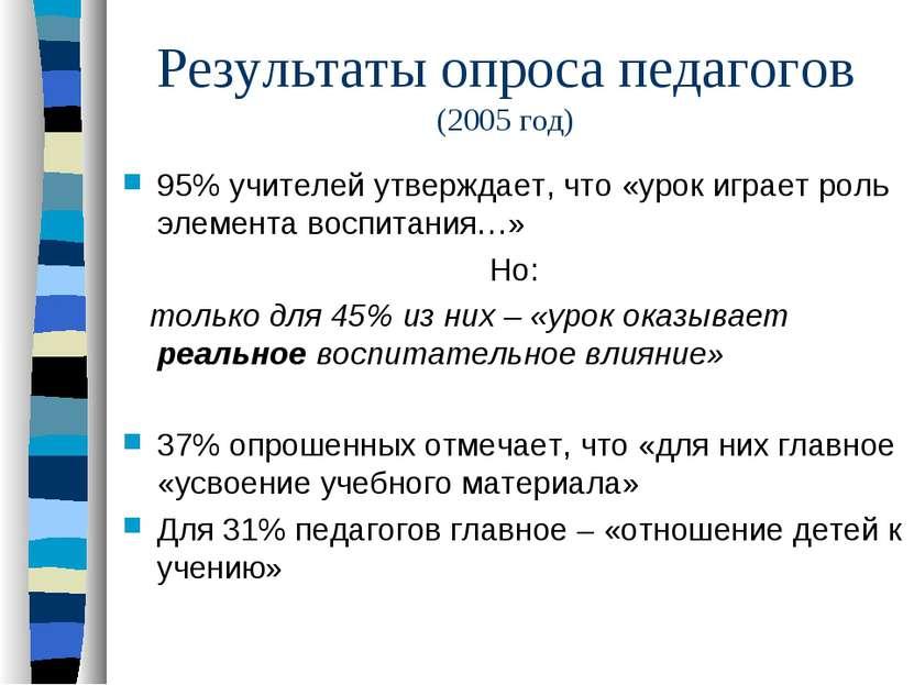 Результаты опроса педагогов (2005 год) 95% учителей утверждает, что «урок игр...