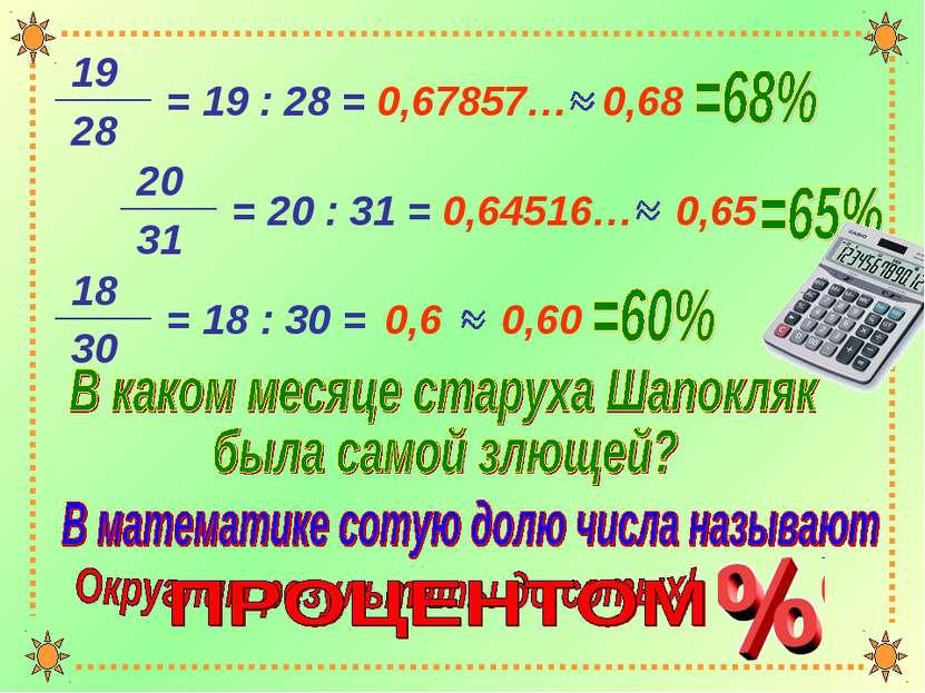 = 19 : 28 = 0,67857… = 20 : 31 = 0,64516… = 18 : 30 = 0,6 0,68 0,65 0,60