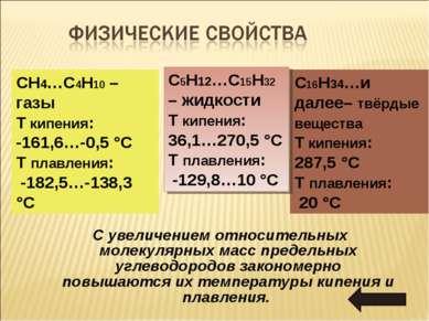 С увеличением относительных молекулярных масс предельных углеводородов законо...
