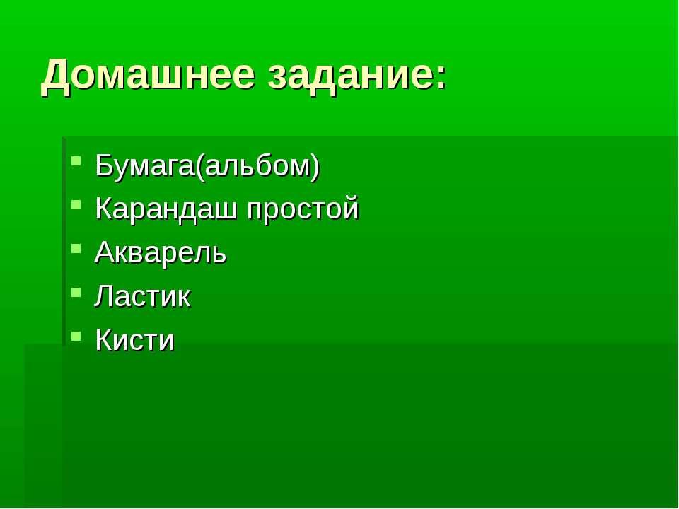 Домашнее задание: Бумага(альбом) Карандаш простой Акварель Ластик Кисти