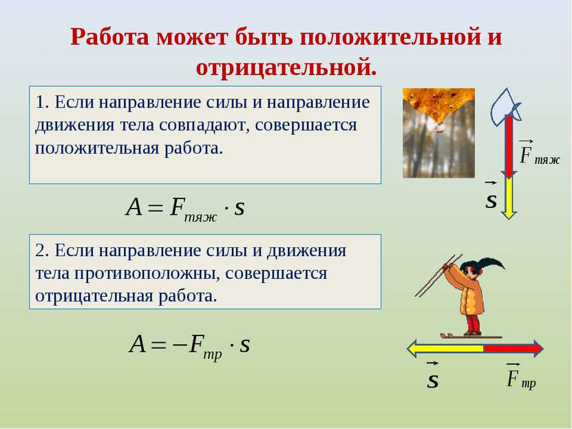 Работа может быть положительной и отрицательной. 1. Если направление силы и н...