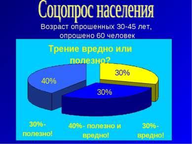Возраст опрошенных 30-45 лет, опрошено 60 человек