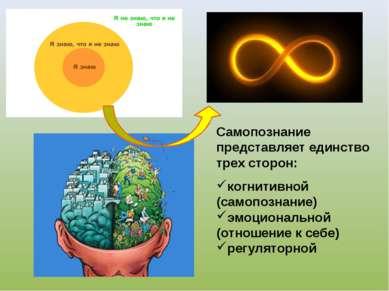 Самопознание представляет единство трех сторон: когнитивной (самопознание) эм...