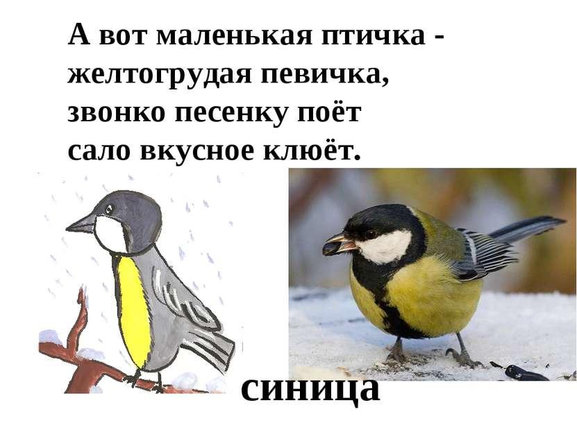 А вот маленькая птичка - желтогрудая певичка, звонко песенку поёт сало вкусно...