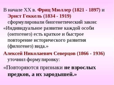 В начале ХХ в. Фриц Мюллер (1821 - 1897) и Эрнст Геккель (1834 - 1919) сформу...