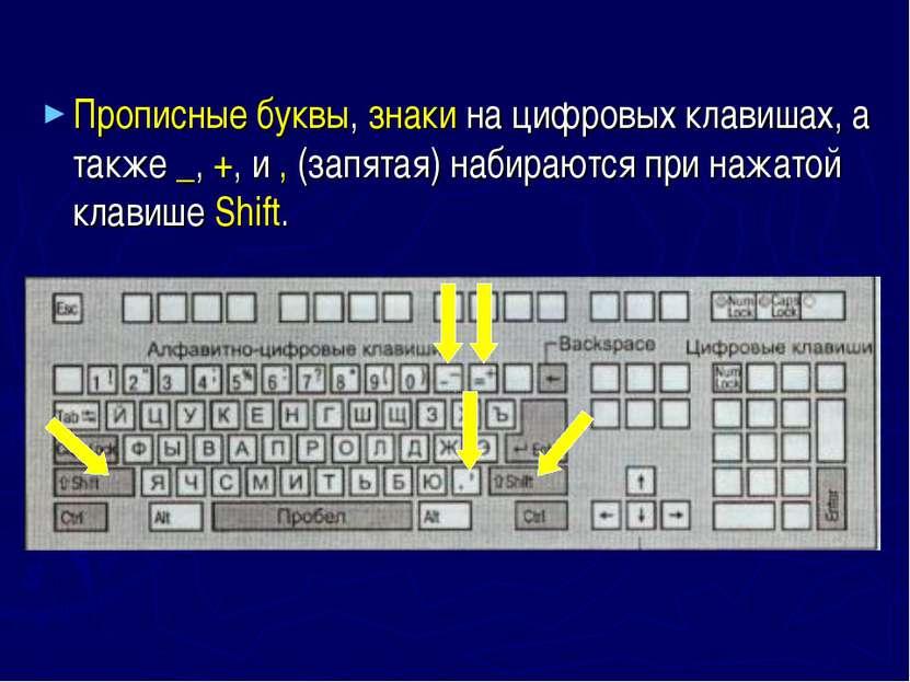 Прописные буквы, знаки на цифровых клавишах, а также _, +, и , (запятая) наби...