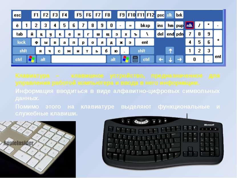 Клавиатура – клавишное устройство, предназначенное для управления работой ком...