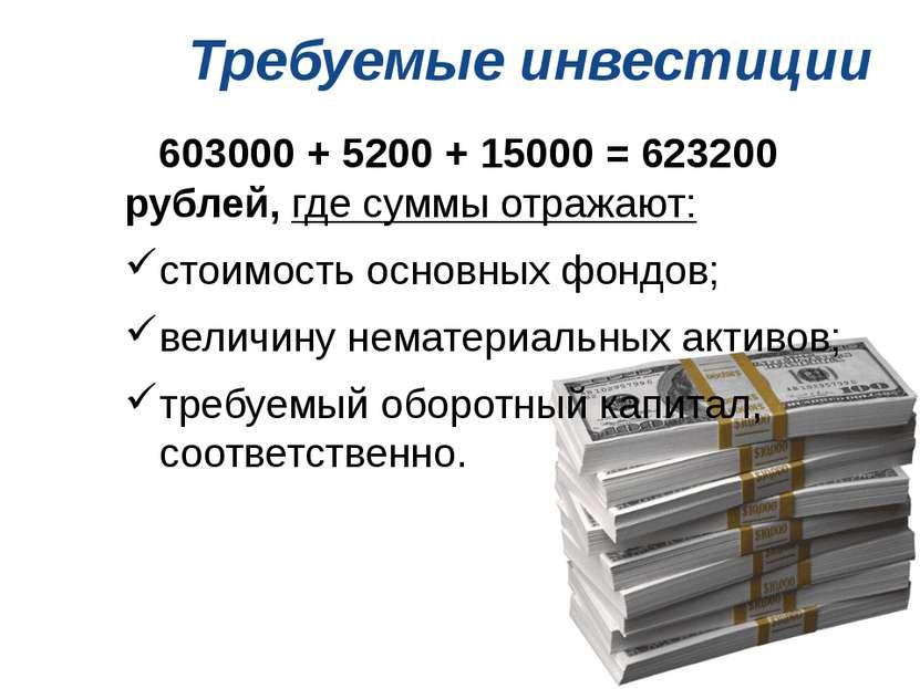 Требуемые инвестиции 603000 + 5200 + 15000 = 623200 рублей, где суммы отражаю...
