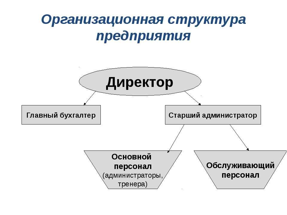 Организационная структура предприятия Директор Главный бухгалтер Старший адми...