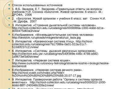 Список использованных источников 1. В.Б. Захаров, Е.Т. Захарова «Правильные о...