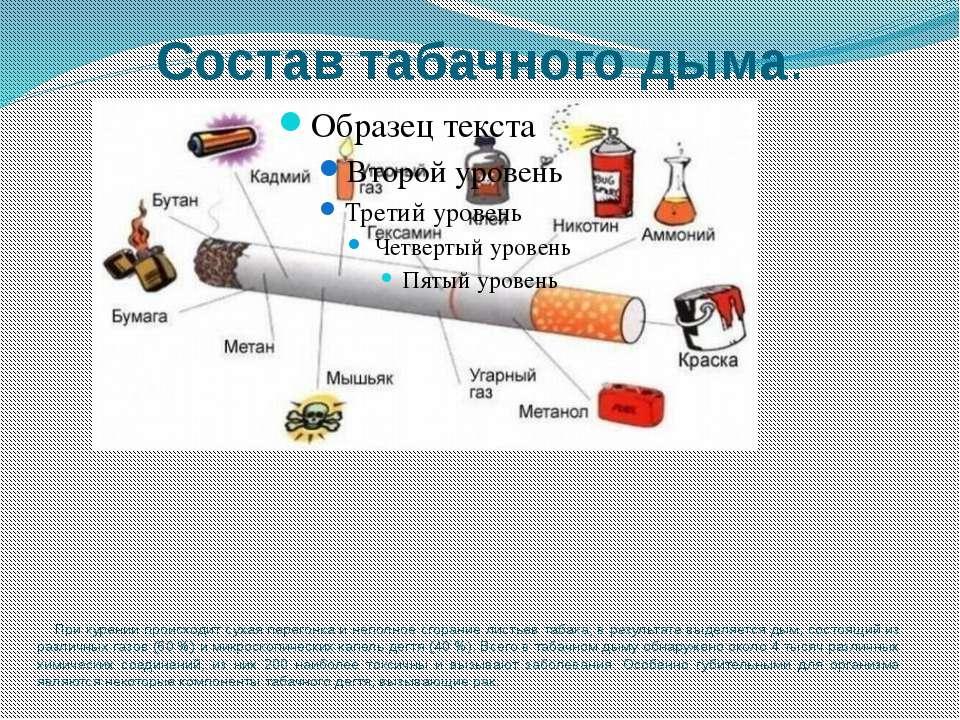 Состав табачного дыма. При курении происходит сухая перегонка и неполное сгор...