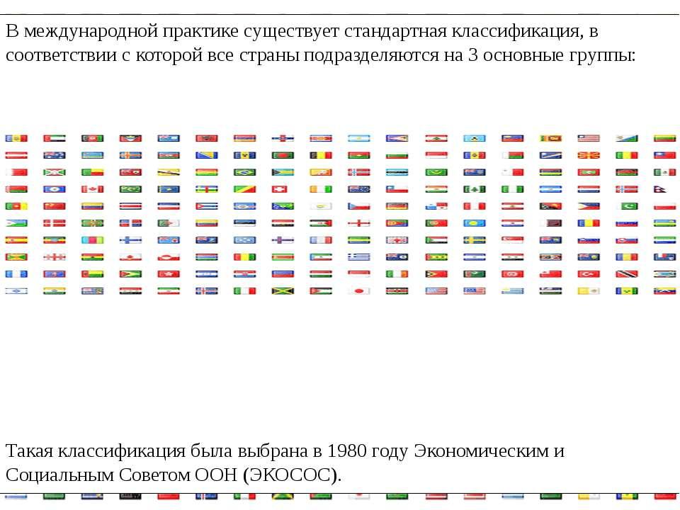 В международной практике существует стандартная классификация, в соответствии...