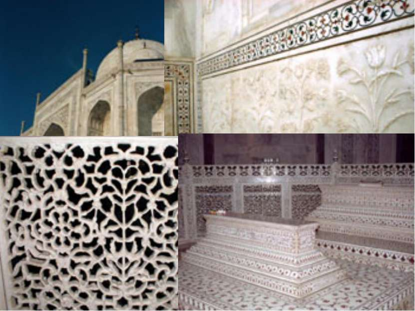 Стены Тадж-Махала выложены белым полированным мрамором с инкрустацией из само...
