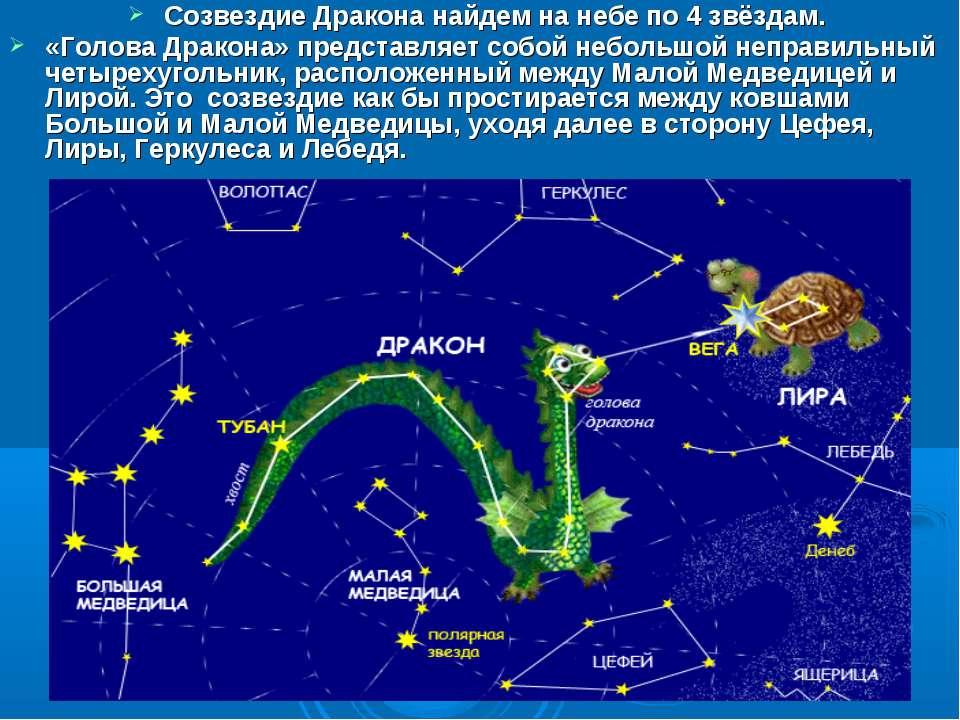 Созвездие Дракона найдем на небе по 4 звёздам. «Голова Дракона» представляет ...