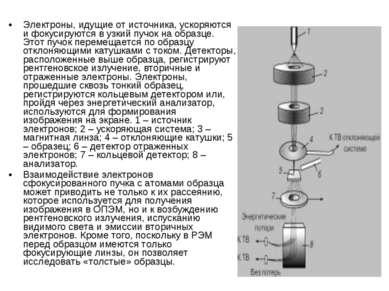 Электроны, идущие от источника, ускоряются и фокусируются в узкий пучок на об...