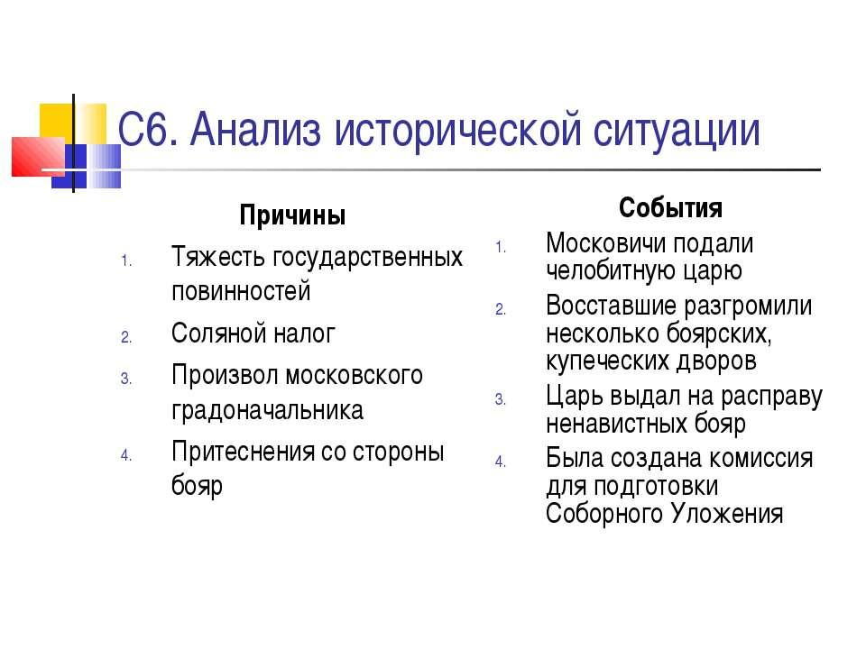 С6. Анализ исторической ситуации Причины Тяжесть государственных повинностей ...