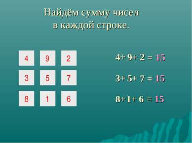 4 9 2 3 5 7 8 1 6 Найдём сумму чисел в каждой строке. = 15 4+ 9+ 2 3+ 5+ 7 = ...
