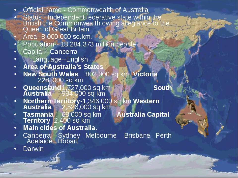 Official name - Commonwealth of Australia Status - Independent federative sta...