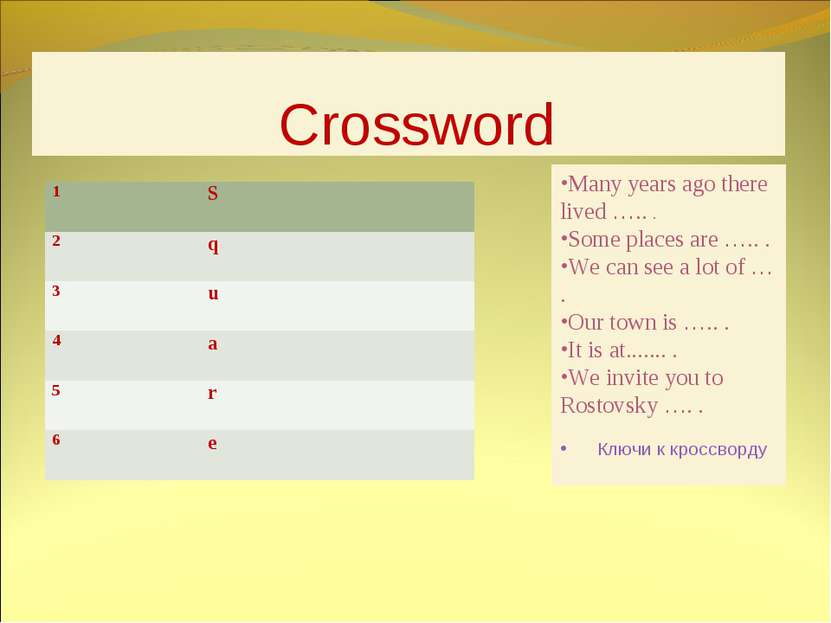 Crossword Many years ago there lived ….. . Some places are ….. . We can see a...