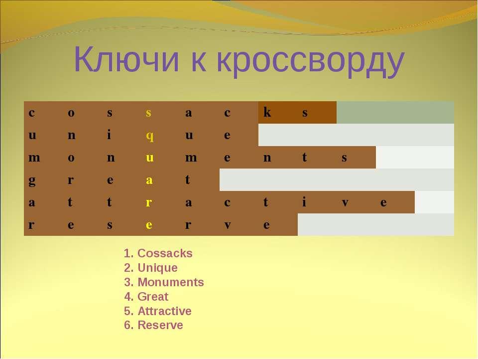 Ключи к кроссворду 1. Cossacks 2. Unique 3. Monuments 4. Great 5. Attractive ...