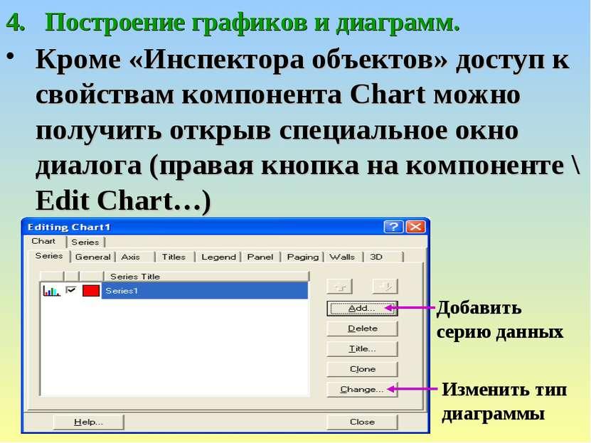 Построение графиков и диаграмм. Кроме «Инспектора объектов» доступ к свойства...