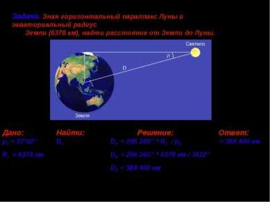 Дано: Найти: Решение: Ответ: p = 57'02'' D D = 206 265'' * R⊕ / p ≈ 384 400 к...