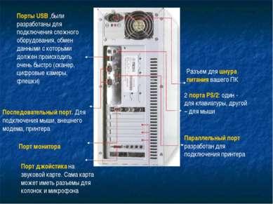 Разъем для шнура питания вашего ПК 2 порта PS/2: один - для клавиатуры, друго...