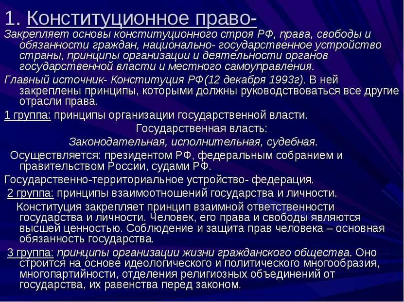 1. Конституционное право- Закрепляет основы конституционного строя РФ, права,...