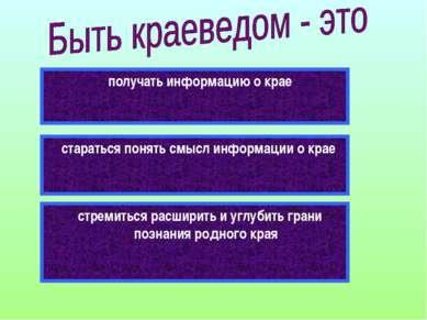 получать информацию о крае стараться понять смысл информации о крае стремитьс...