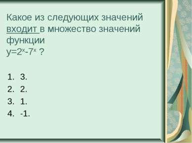 Какое из следующих значений входит в множество значений функции у=2х-7х ? 3. ...