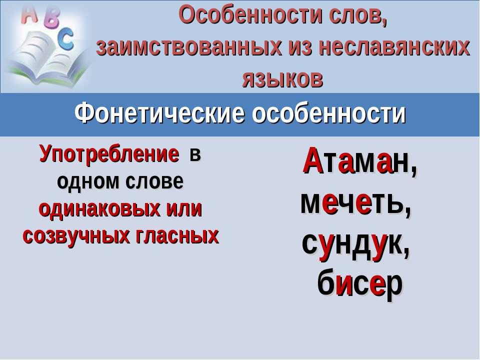 Особенности слов, заимствованных из неславянских языков Фонетические особенно...