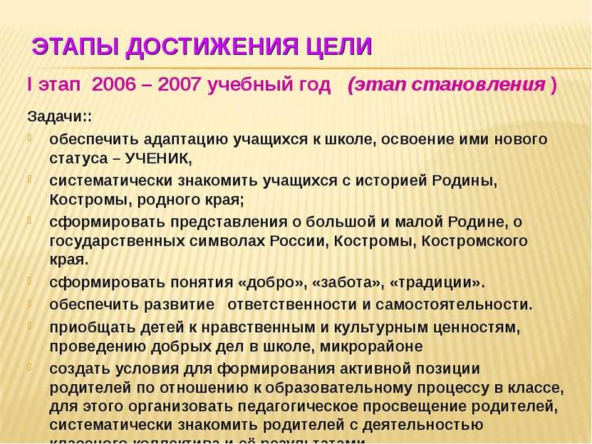 ЭТАПЫ ДОСТИЖЕНИЯ ЦЕЛИ I этап 2006 – 2007 учебный год (этап становления ) Зада...