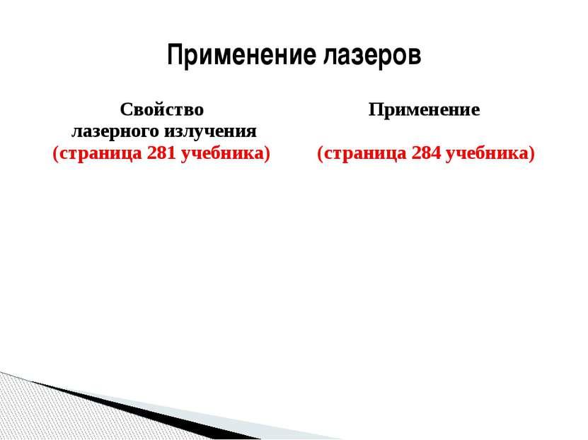 Применение лазеров Свойство лазерного излучения (страница 281 учебника) Приме...