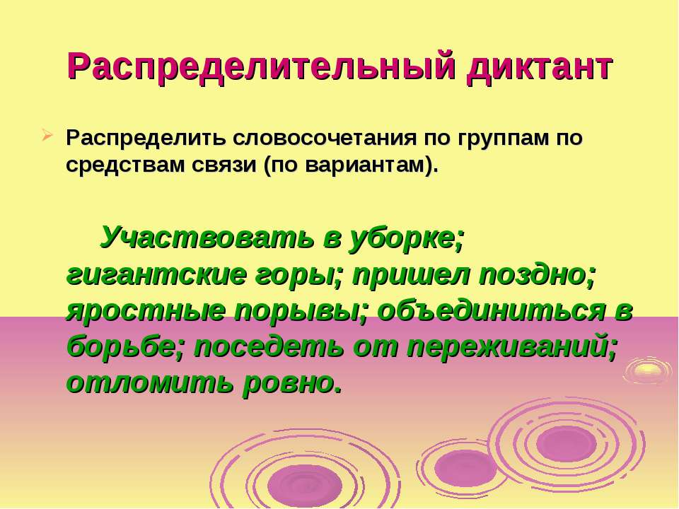 Распределительный диктант Распределить словосочетания по группам по средствам...