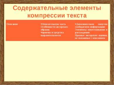 Содержательные элементы компрессии текста Описание Описательную часть Особенн...