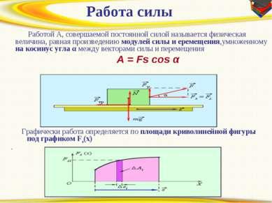 Работа силы Работой A, совершаемой постоянной силой называется физическая ве...