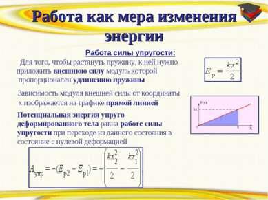 Работа как мера изменения энергии Работа силы упругости: Для того, чтобы раст...