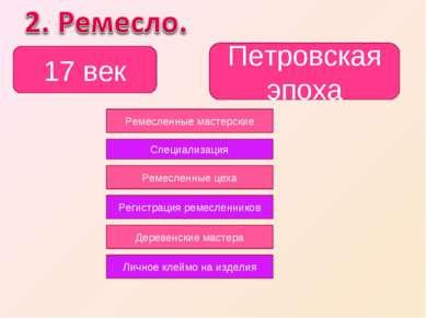 17 век Петровская эпоха Ремесленные мастерские Специализация Ремесленные цеха...