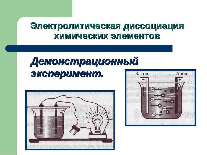 Электролитическая диссоциация химических элементов Демонстрационный эксперимент.
