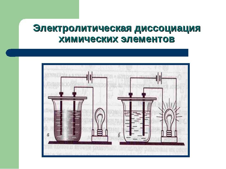 Электролитическая диссоциация химических элементов