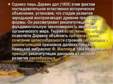 Однако лишь Дарвин дал (1859) этим фактам последовательное естественно-истори...