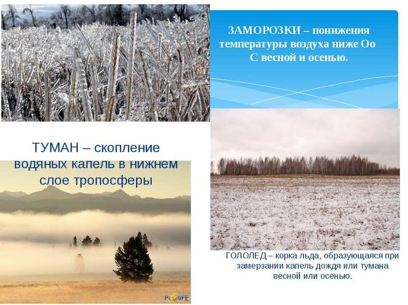 ЗАМОРОЗКИ – понижения температуры воздуха ниже Оо С весной и осенью. ТУМАН – ...