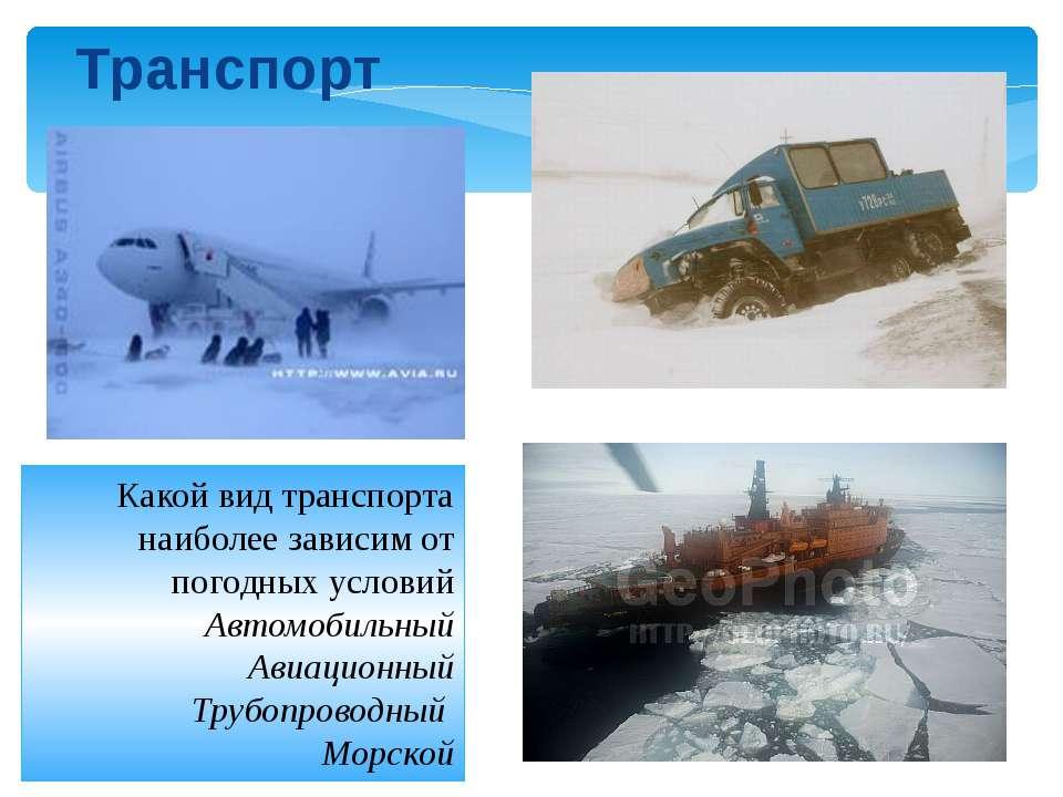 Какой вид транспорта наиболее зависим от погодных условий Автомобильный Авиац...
